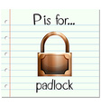Flashcard alphabet P is for padlock vector image vector image