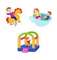 flat children at amusement park set vector image