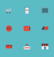 flat icons big sale purse bus and other vector image vector image