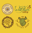 flower shop emblems and bright logo vintage vector image vector image