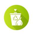 garbage disposal flat design long shadow glyph vector image vector image