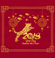 happy chinese new year 2018 card with dog year of vector image