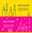 happy holidays flyer templates in line style vector image vector image