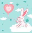 happy valentines day with cute bunny and balloon vector image