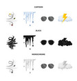 isolated object weather and climate icon set vector image vector image