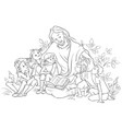 jesus reading the bible to children coloring page vector image