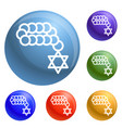 jewish beads icons set vector image