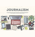 journalism top view banner in line art style vector image vector image