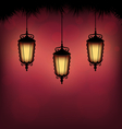 lanterns with pine on red vector image