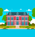 large red private house and empty front yard with vector image