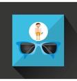 man shorts sunglasses towel beach vacations vector image