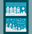 merry christmas old town paper cuts city view vector image