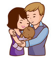 mother and father holding their adopted baby vector image
