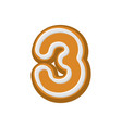 number 3 gingerbread font peppermint honey-cake vector image vector image