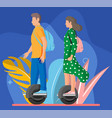 people on monocycle wheel vector image