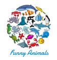 poster cartoon sea animals and fish vector image vector image