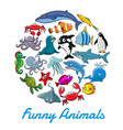 poster of cartoon sea animals and fish vector image