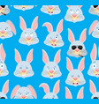 rabbit head pattern hare background ornament face vector image vector image