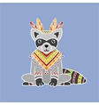 Raccoon Wearing Tribal Clothing vector image vector image