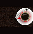 red cup of coffee and coffee beans background vector image vector image