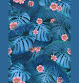 seamless background of tropical leaves in blue vector image vector image