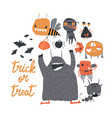 set cute colorful monsters on white background vector image