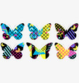 set of butterflies with a memphis pattern made vector image vector image