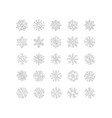 silver snowflakes line icons on white background vector image