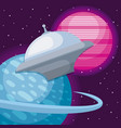 spaceship with planets space universe vector image vector image