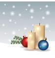 sphere leaves candle merry christmas icon vector image