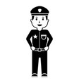 standing policeman smiling uniform and cap vector image vector image