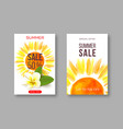 summer sale banners with handdrawn watercolor sun vector image vector image