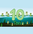 ten frog at the pond vector image vector image