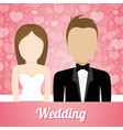 wedding couple lovely invitation and hearts vector image vector image