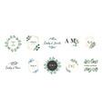 wedding logos hand drawn elegant delicate vector image vector image