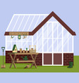 with greenhouse and gardening vector image vector image