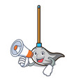 with megaphone mop character cartoon style vector image vector image