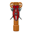 wooden pole with a shield a sword and two sharp vector image