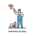 worker paints the wall vector image