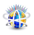 world roads and modern cities icon symbol vector image