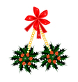 A Beautiful Christmas Holly with A Red Bow vector image vector image