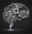 abstract technological glowing brain vector image vector image