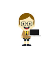 adorable boy with laptop cartoon character vector image vector image