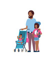 african father daughter baby son in stroller full vector image vector image