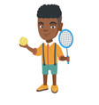 african tennis player holding racket and ball vector image vector image