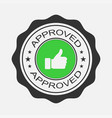 Approved stamp sticker or banner in flat design