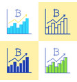 bitcoin graph icon set in flat and line style vector image