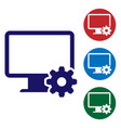 blue computer monitor and gear icon isolated on vector image vector image