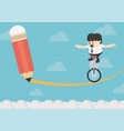 business man riding a bicycle with a pencil on vector image