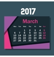 calendar march 2017 template icon vector image